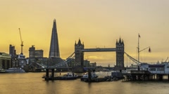 Timelapse of Tower bridge and the Shard at night Stock Footage