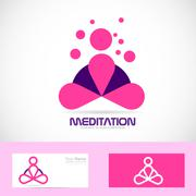 Meditation yoga zen pink logo - stock illustration