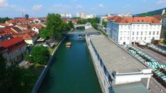 Aerial view of river Ljubljanica flowing through Ljubljana. Slovenia Stock Footage