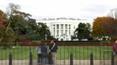 Rack focus on White House in Washington, DC Stock Footage