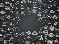 Cloud technology concept: Cloud on School Board background - stock illustration
