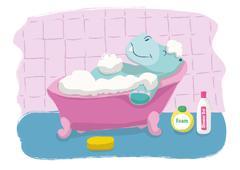HIPPOPOTAMUS BATH Stock Illustration