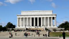 Pan of Lincoln Memorial in Washington, DC Stock Footage