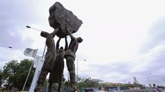 Statue at maryland Lagos Nigeria Stock Footage