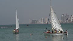 Sail boats at the old port of Jaffa in Tel Aviv Jaffa, Israel Stock Footage