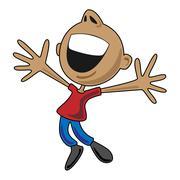 Happy Cartoon Man Jumping for Joy - stock illustration