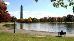 Washington Monument and Tidal Basin in Washington, DC - stock footage