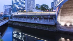 Time-lapse of multiple train lines in Tokyo Stock Footage