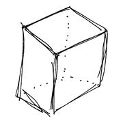 sketch drawing of a box - stock illustration