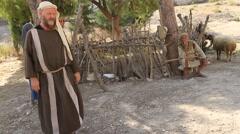 Abraham and Young Isaac Playing, Biblical Reenactment - stock footage