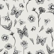 Summer Monochrome Vintage Floral Seamless Pattern with Blooming Chamomiles - stock illustration