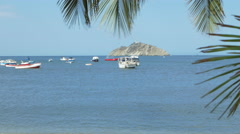 View of boats in sea at beach, Santa Marta, Colombia Stock Footage