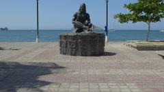Statue of Kogi man at promenade in Santa Marta, Colombia Stock Footage