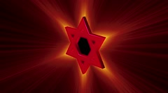 Stylized image rotating red Star of David in the radiance rays Stock Footage