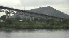 Vehicles moving on Bridge of the Americas, Panama Stock Footage