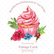 Vintage invitation card watercolor cupcakes and flowers with polka dots, vector - stock illustration