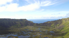 View of Rano Kau in Easter Island, Chile Stock Footage