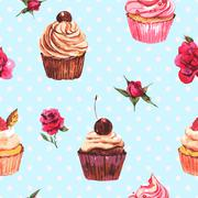 Watercolor vintage seamless background with cupcakes and flowers - stock illustration