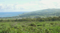 View of hill and landscape in Easter Island, Chile Stock Footage