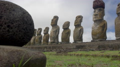 View of Ahu Tongariki, Easter Island, Chile - stock footage