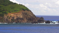 View of Pacific Ocean and mountain in Pitcairn Islands Stock Footage