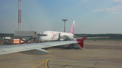 Airport runway taxiing Stock Footage