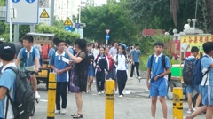 Chinese middle school students go home on the way home from school Stock Footage