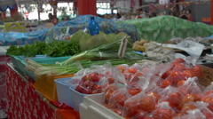 Vegetables in market display, Papeete, Tahiti, French Polynesia Stock Footage