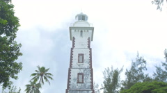 View of lighthouse in Point Venus, Papeete, Tahiti, French Polynesia Stock Footage