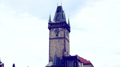 Bell tower in Prague: astronomical clock tower Stock Footage