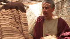Stock Video Footage of Roman Leader Listening to Citizen, Biblical Reenactment