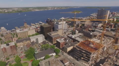 Drone flying over downtown Halifax towards to harbour  Stock Footage