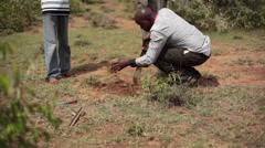Surveyor dig soil with knife for land marker beacon, Africa, Kenya Stock Footage