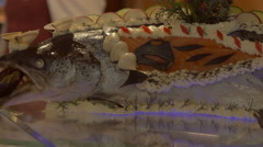 Grilled fish with salad display in Gala Buffet, Ho Chi Minh, Vietnam Stock Footage