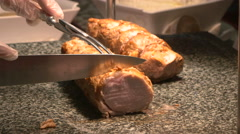 Chef cutting slice of meat in Gala Buffet, Ho Chi Minh, Vietnam Stock Footage