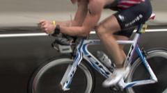 TRIATHLETE SOLO CYCLIST IN LEAD NYC TRIATHLON WEST SIDE DRIVE-202 Stock Footage