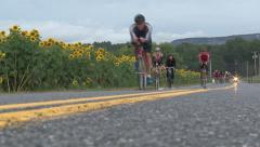 CYCLISTS ON COUNTRY ROAD NEW PALTZ TRIATHLON - 217 Stock Footage