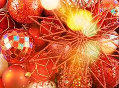 Seasonal Christmas decoration background - stock photo