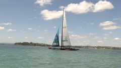 Tourists sailing in yacht, Auckland, New Zealand Stock Footage