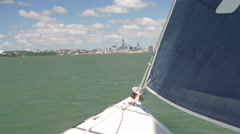 Yacht sailing in sea, Auckland, New Zealand Stock Footage