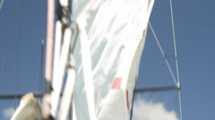 Sail being removed from mast, Auckland, New Zealand Stock Footage