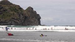 People having fun on beach, Auckland, North Island, New Zealand Stock Footage