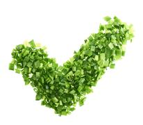 Yes tick shape made of green onion pieces - stock photo