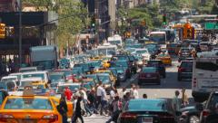Pedestrians and street traffic on Manhattan, New York City Stock Footage