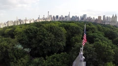 Aerial view The Central Park Castle in New York City - stock footage