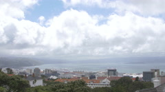 View of cityscape and sea, Wellington, New Zealand Stock Footage