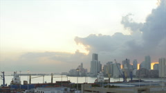 View of cityscape and skyline from port of Miami, Miami, Florida, USA Stock Footage