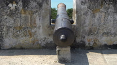 Cannon in fortress of Castillo San Felipe de Barajas, Cartagena, Colombia Stock Footage