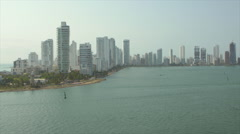View of skyline and Cartagena Bay, Cartagena, Colombia Stock Footage