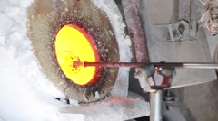 Production process in a glass workshop in Kawagoe, Saitama Prefecture, Japan Stock Footage
